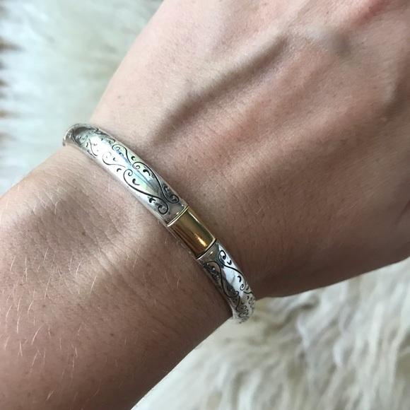 Brighton Jewelry - Brighton Silver with Gold Accent Classic Bangle